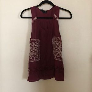 Maroon embroidered shirt (M)